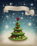 Illustration with christmas tree Stock Photos