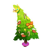 Illustration: The Christmas Tree wishes You Merry Christmas. ! Realistic Fantastic Cartoon Style Character / Holiday Card Design Royalty Free Stock Image