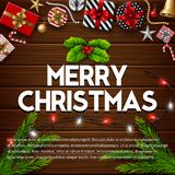 Christmas wooden background with gift box and christmas elements. Illustration of Christmas wooden background with gift box and christmas elements Royalty Free Stock Photo