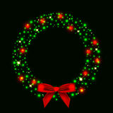 Illustration of christmas wreath from lights with  Stock Photos