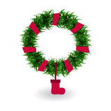 Illustration with Christmas wreath Royalty Free Stock Photos
