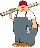 Chubby carpenter carrying a hammer and board. Illustration of a chubby carpenter wearing overalls holding a claw hammer and a wooden board over his shoulder Royalty Free Stock Image