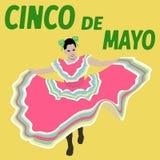 Illustration Cinco De Mayo festival. Dance. Mexican Poster - Vector Stock Photography