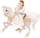 Cinderella and Prince Riding a Horse after wedding. Illustration of Cinderella and Prince riding a horse after wedding royalty free illustration