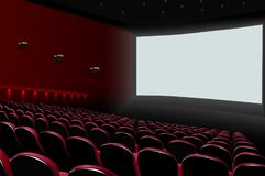 Cinema auditorium with red seats and white blank screen. Illustration of Cinema auditorium with red seats and white blank screen Stock Photos