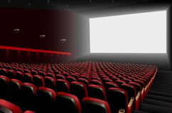 Cinema auditorium with red seats and white blank screen. Illustration of Cinema auditorium with red seats and white blank screen Royalty Free Stock Photos