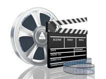 Illustration of cinema clap and film reel, over. 3d illustration of cinema clap and film reel, over white background Royalty Free Stock Image