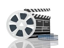 Illustration of cinema clap and film reel, over. 3d illustration of cinema clap and film reel, over white background Stock Image
