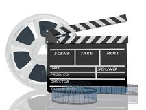 Illustration of cinema clap and film reel, over. 3d illustration of cinema clap and film reel, over white background Stock Photography