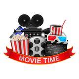 Cinema and Movie time with film reel, popcorn, paper cup, 3d glasses, clapperboard and ribbon. royalty free illustration