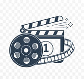 Illustration of  cinema  white in black icon. Stock Image