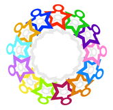 Illustration circle of colorful men simple shapes that hold hand Stock Image