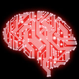 Illustration of circuit board in human brain form - red on black Royalty Free Stock Photo