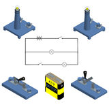 Illustration of the circuit. concept of battery with power switch. Circuit. concept of battery with power switch. flat design. Vector illustration Royalty Free Stock Images