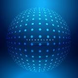 Illustration circulaire de conception de vecteur de maille de sphère de points Images libres de droits