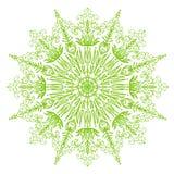 Illustration circulaire de mandala de ressort vert clair sensible de fond Photos libres de droits