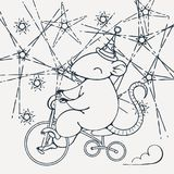 Illustration with a circus rat on a bike. Coloring page. Vector image Stock Photography