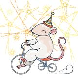 Illustration with a circus rat on a bike. Vector image Stock Image