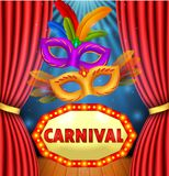 Circus show with sign board carnival , mask carnival and light frame. Illustration of Circus show with sign board carnival , mask carnival and light frame vector illustration