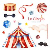 Illustration with circus tent,candy,balls,garland,moustaches,ribbon,flag banner stock photo