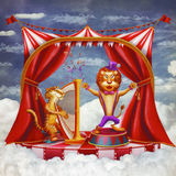 Сircus with tent, a tiger playing on a harp and singing a lion Stock Photo