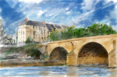Illustration of city bridge Stock Photography