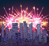 Illustration with city and bright fireworks. Royalty Free Stock Image