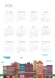 Illustration of a city with a calendar. Calendar 2016 with the city in a linear style vector illustration