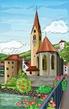 Illustration of city church Stock Photography