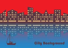 The city with evening illumination. Abstract background stock illustration