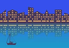 The city with evening illumination. Abstract background. Horizontal composition stock illustration