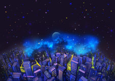 Illustration: The City and the Fantastic Starry Night. With Flying Fish in the Sky. A Good Wish Card appropriate for any event. Fantastic Cartoon Style Royalty Free Stock Photo