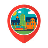 Illustration of the city. Geolocation icon Royalty Free Stock Photography