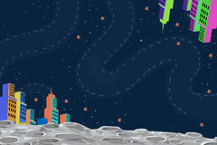 Illustration: City on the Moon. Realistic Fantastic Cartoon Style Artwork / Story / Scene / Wallpaper / Background / Card Design Royalty Free Stock Photo