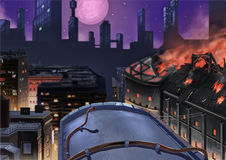Illustration: The City Night. Royalty Free Stock Image