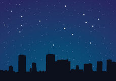 Illustration of a city at night Stock Photography