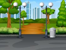 City park background with footpath and lantern. Illustration of City park background with footpath and lantern vector illustration