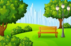 City park bench with green tree and town buildings