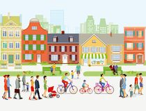 Cityscape with pedestrians and cyclists. An illustration of a city with pedestrians and cyclists on the street Stock Photography