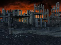 Apocalypse, City Ruins, Earthquake, War. Illustration of a city in ruins. The ruined city has been destroyed by war. Buildings are collapsed from the destruction stock photo