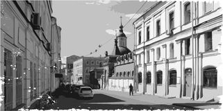 Illustration of city scape. Black and white illustration of city scape Royalty Free Stock Images
