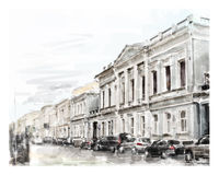 Illustration of city scape. Watercolor illustration of city scape Royalty Free Stock Photos