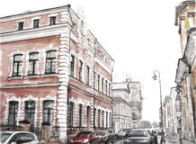 Illustration of city scape. Watercolor illustration of city scape Stock Images