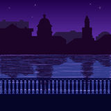 Illustration of city skyline at nigh: quay Royalty Free Stock Photo