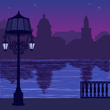 Illustration of city skyline at nigh: quay and silhouette of lamppost Stock Photos