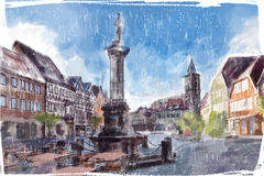 Illustration of city Square. Royalty Free Stock Photo