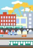 Illustration of city street. In flat style Stock Photo