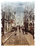 Illustration of city street. Royalty Free Stock Image