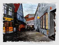 Illustration of city street. Royalty Free Stock Photography