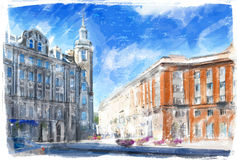 Illustration of city street. Royalty Free Stock Photo